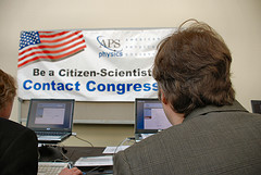 Citizen Scientists at work writing Congress.